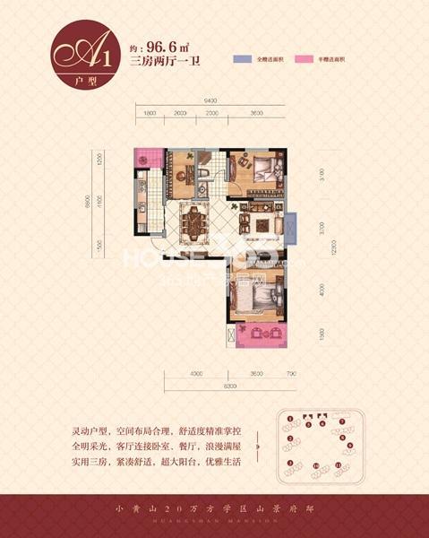 黄山府邸A1户型三室二厅一卫96.6㎡