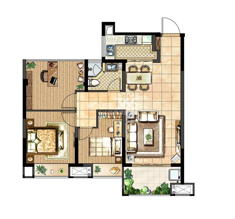 中电颐和府邸一期高层标准层-A户型 2+1房两厅一卫