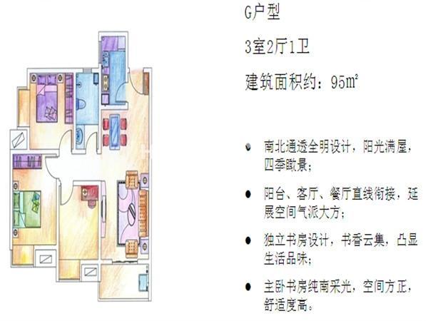 曲江林语G户型三室二厅一卫 95㎡