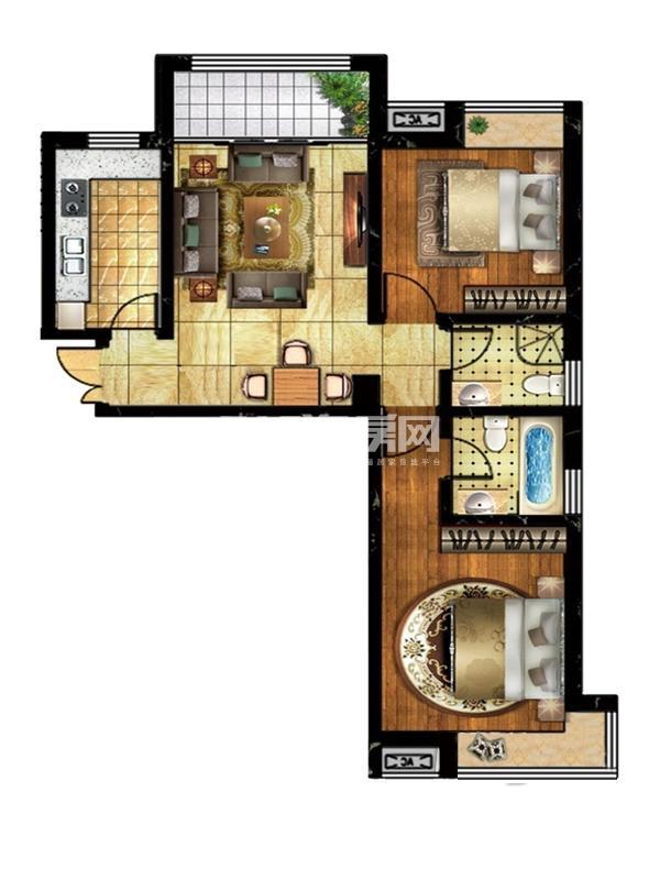 薇乐如意园户型图六号楼004户型 面积 95.73㎡ 2室1厅1卫1厨