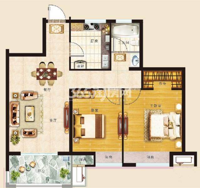 A2户型 2室2厅2卫1厨 88.00㎡