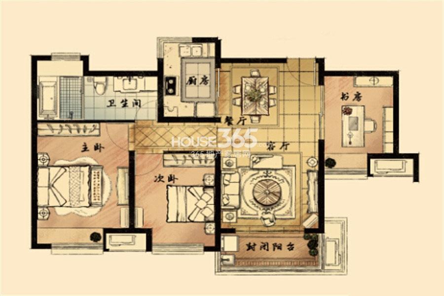九龙仓风华里1#2#6#7#100㎡A户型图
