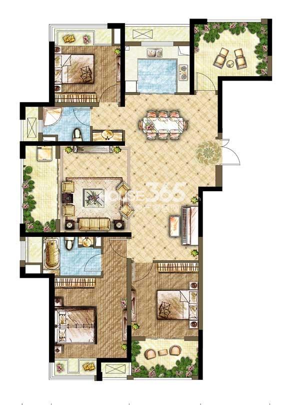 世茂香槟湖A1户型 3+1室2厅2卫