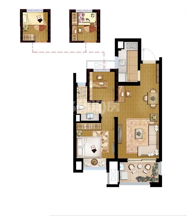 招商学府1872高层B2-62平1+1室