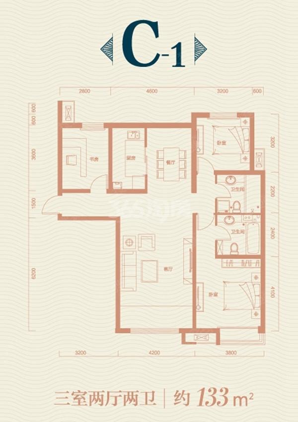 保利领秀山C1户型图 3室2厅2卫