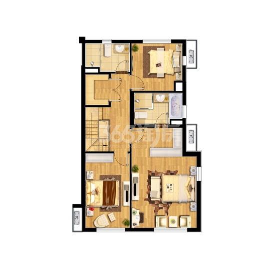 中航樾广场135㎡复式户型图(二楼)