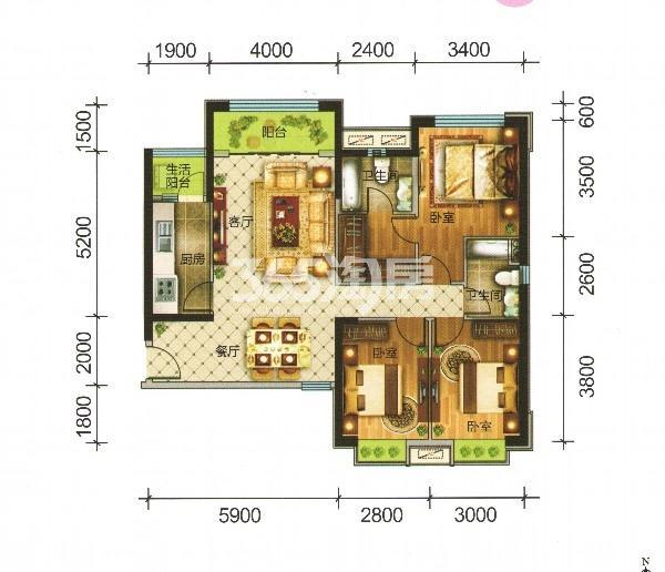 C1户型 三室两厅-131.28㎡