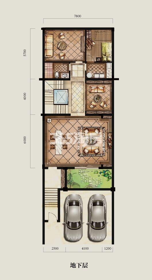 大华西溪风情观止A户型280方地下室户型图