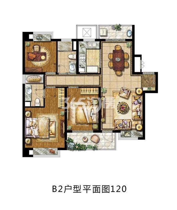 金地中心风华120平米B2户型图