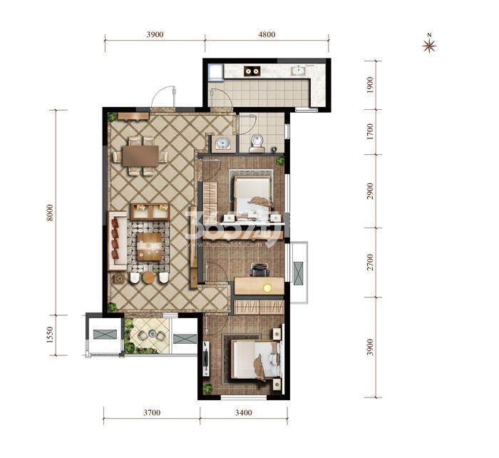 紫薇西棠高层三室两厅一卫一厨96㎡