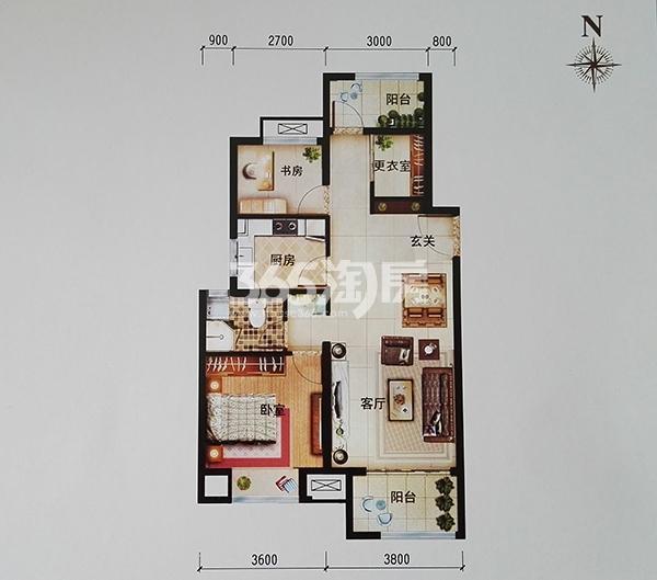 J1户型三室两厅一卫