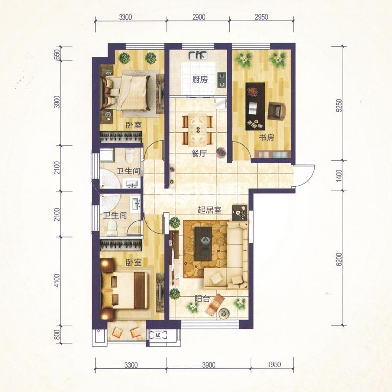 C1户型 建筑面积约130.03㎡ 三室两厅一厨两卫