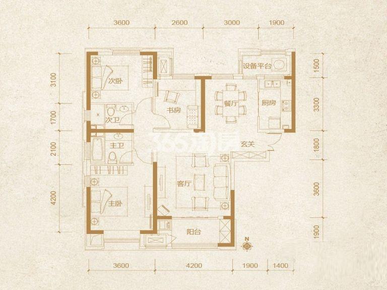 高层 3室2厅2卫 128平米