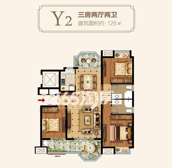 Y2户型三房两厅两卫