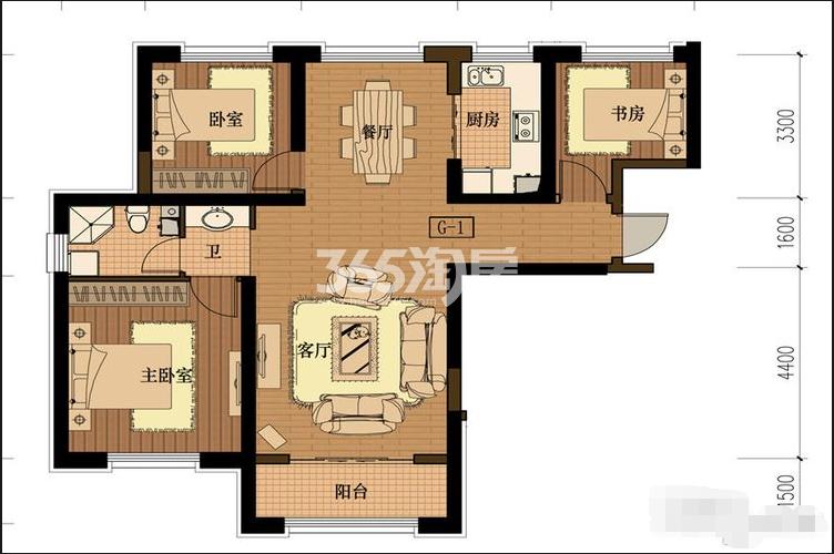 G-1三室两厅一卫116平
