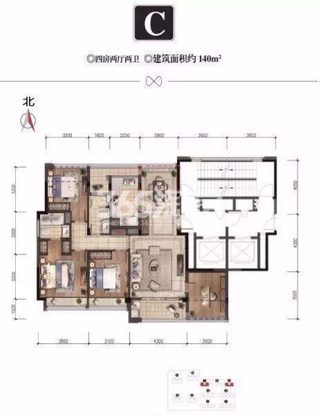 桂语江南C户型图140方(5、7号楼)
