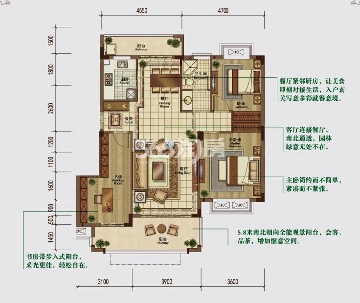 华强城赛纳丽城滨江DC-2户型图