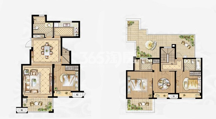 叠拼D-6户型 3室2厅3卫1厨