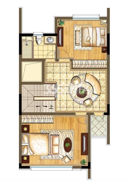 瑞安翠湖山西边02室258㎡B户型1层西边02室B户型二层