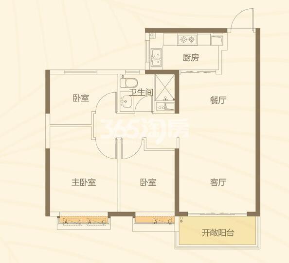 恒大都市广场 3室2厅1厨1卫99.85㎡