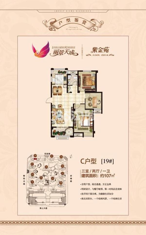 丽景天成(三期紫金苑) C户型三室两厅一卫107㎡