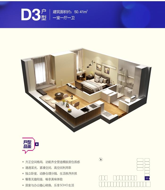 KingMall未来中心C1户型一室一厅一卫50.41㎡