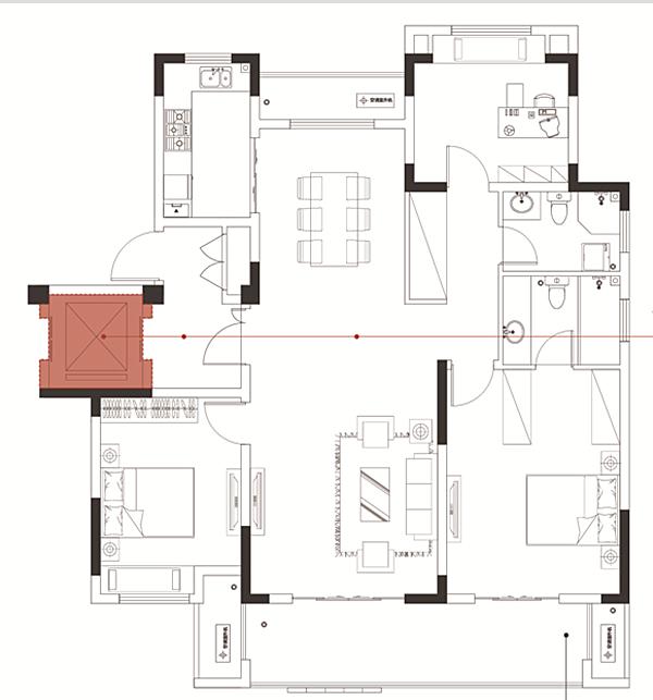 中锐星尚城A2户型 三室两厅两卫 134.77㎡