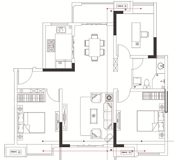 中锐星尚城E2户型 三室两厅一卫 109.1㎡